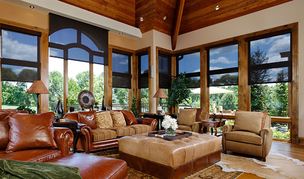 Luxury living room with smart home windows