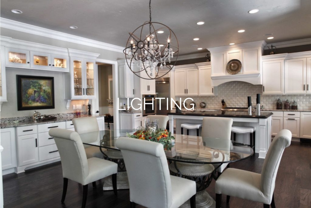 "Smart home dining room with ""Lighting"" text overlay"