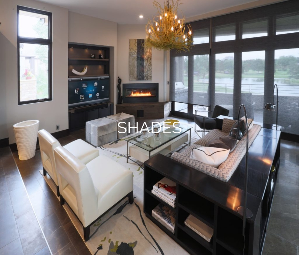 """Smart home living room with """"Shades"""" text overlay"""